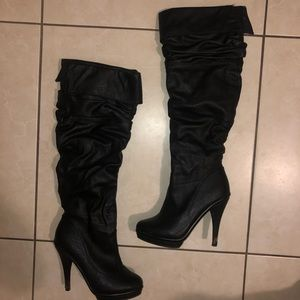 Faux Leather Heeled Boots